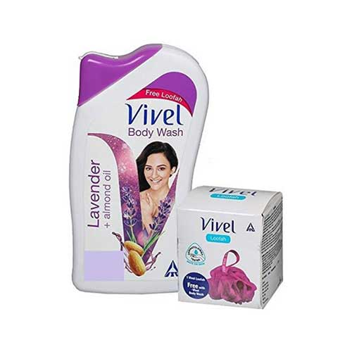 Vivel-Body-Wash,-Lavender-and-Almond-Oil,-200ml-with-Free-Vivel-Loofah
