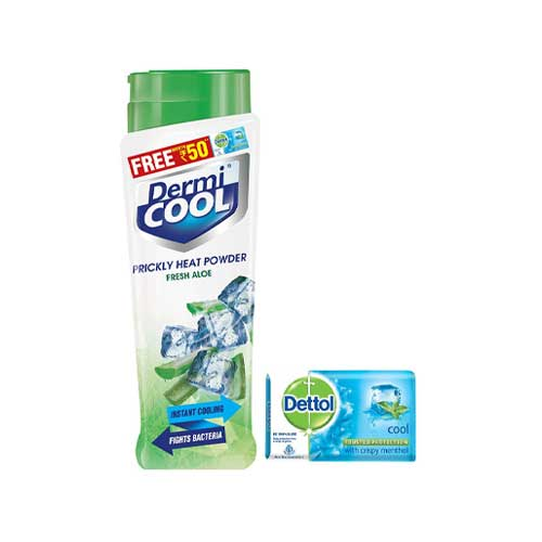 Dermicool-Prickly-Heat-Powder,-Aloe,-150-g-with-Free-Dettol-Cool-Soap,-125g